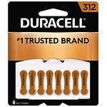 Duracell Hearing Aid Batteries, 312- 8 ea