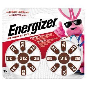 Energizer EZTurn & Lock Hearing Aid Battery, Size 312- 16 ea