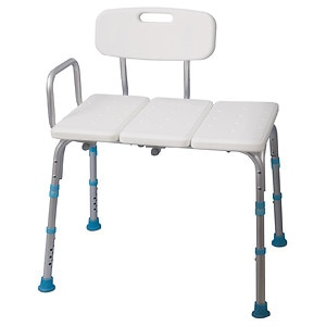 AquaSense Adjustable Bath and Shower Transfer Bench with Reversible Backrest, Off White- 1 ea