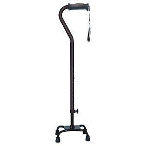 Hugo Adjustable Quad Cane For Right or Left Hand Use, Small Base, Black, 1 ea