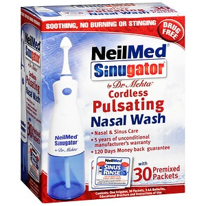 NeilMed Sinugator Cordless Pulsating Nasal Wash with 30 Premixed Packets- 1 set
