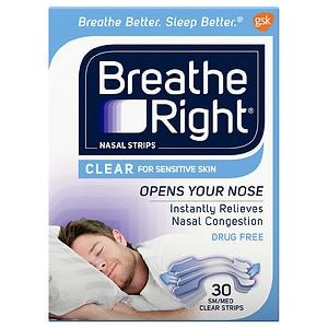 Breathe Right Nasal Strips, Small/Medium, Clear- 30 ea