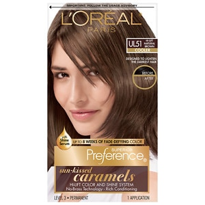 L'Oreal Paris Superior Preference Sun-Kissed Caramels, Hi-Lift Natural Brown Ul51- 1 application
