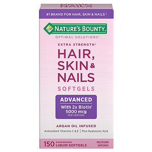 Nature's Bounty Optimal Solutions Extra Srength Hair Skin and Nails 5000 mcg of Biotin, Caplets, 150 ea