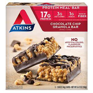 Atkins Advantage Meal Bars, 5 pk, Chocolate Chip Granola