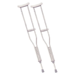 Drive Medical Walking Crutches with Underarm Pad & Handgrip, Adult- 1 pr