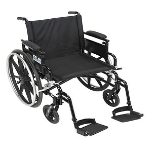 Drive Medical Viper Plus GT Wheelchair w Flip Back Removable Adjustable Desk Arm and Foot Rest, 18 Inch- 1 ea