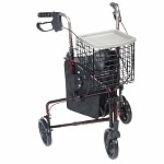Drive Medical 3 Wheel Rollator Walker with Basket Tray and Pouch,
