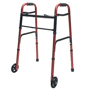 Lumex Adult Folding Walker with Wheels, Red