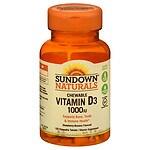Sundown Naturals Chewable Vitamin D3 1000 IU, Tablets, Strawberry-Banana- 120 ea