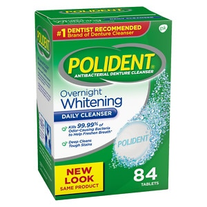 Polident Overnight Whitening, Antibacterial Denture Cleanser, Bonus Pack, Triple Mint Freshness- 84 ea