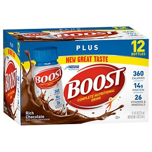 Boost Plus Complete Nutritional Drink, Rich Chocolate, 8 oz Bottles, 12 pk