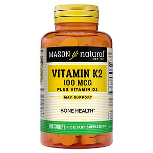 Mason Natural Vitamin K2 100mcg Plus D3 1000 IU, Tablets- 100 ea