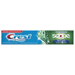 Crest Complete Multi-Benefit Whitening + Scope Outlast Toothpaste, Long Lasting Mint