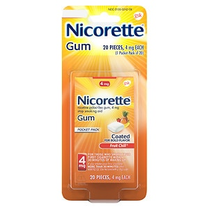 Nicorette Nicotine Gum Pocket Pack, 4 mg, Fruit Chill