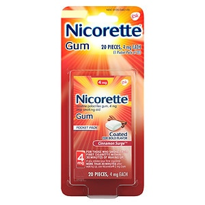 Nicorette Nicotine Gum, 4mg, Cinnamon Surge- 20 ea