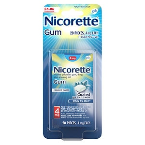 Nicorette Nicotine Gum, 4mg, White Ice Mint, 20 ea