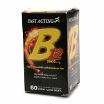 Fast Acting Vitamin B12 2500 mcg, Quick Disolve Tablets, Cherry- 60 ea