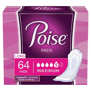 Poise Incontinence Pads, Maximum Absorbency, Long Length- 64 ea