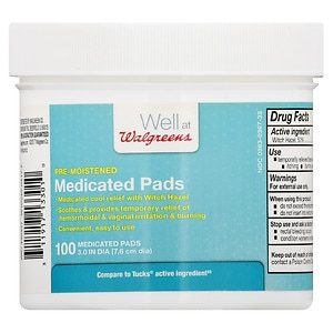 Walgreens Pre-Moistened Medicated Pads, 100 ea