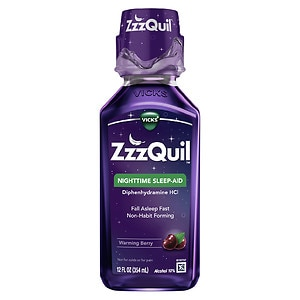 ZzzQuil Nighttime Sleep-Aid Liquid, Warming Berry- 12 oz