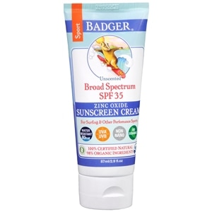 Badger Broad Spectrum Sport Sunscreen, SPF 35, Unscented- 2.9 oz