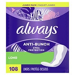 Always Xtra Protection Daily Liners, Long, Unscented, 2pk- 108 ea