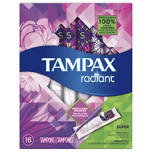 Tampax Tampons with Radiant Plastic Applicators, Unscented, Super, 16 ea
