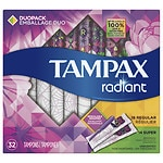 Tampax Tampons with Radiant Plastic Applicators, Unscented, Duo Pack, 32 ea- 1 ea