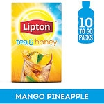 Lipton Tea & Honey To-Go Packets, Mango Pineapple Iced Green Tea, 10 pk- 1 oz