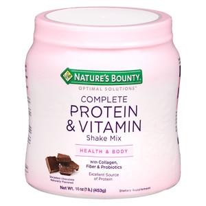 Nature's Bounty Optimal Solutions Complete Protein & Vitamin Shake Mix, Decadent Chocolate- 16 oz