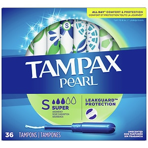 Tampax Pearl Tampons, Unscented, Super, 36 ea