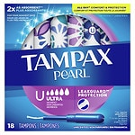 Tampax Pearl Tampons Plastic Applicators, Unscented, Ultra, 18