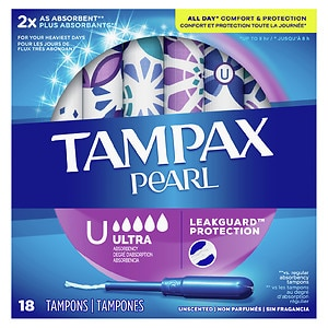 Tampax Pearl Tampons Plastic Applicators, Unscented, Ultra, 18 ea