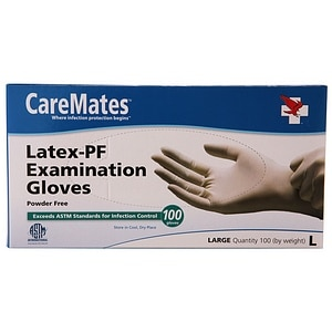 CareMates Latex-Powder Free Examination Gloves, Large&nbsp;