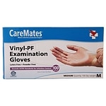 CareMates Vinyl-Powder Free Examination Gloves, Medium