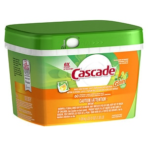 Cascade ActionPacs with Gain Dishwasher Detergent