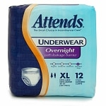 Attends Underwear Overnight with Leakage Barriers, APPNT40, X Large- 48 ea