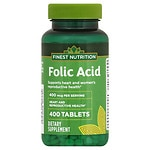 Finest Nutrition Folic Acid 400mcg, Tablets- 400 ea