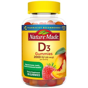 Nature Made Vitamin D3 Adult Gummies, Strawberry, Orange & Lemon, 90 ea