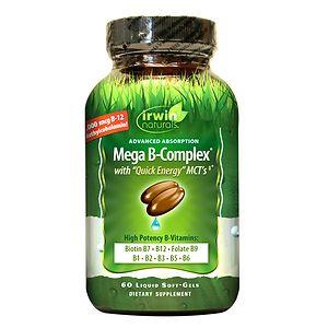 Irwin Naturals Mega B-Complex with Quick Energy, Softgels