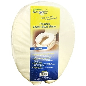 Essential Medical Bath Safety Padded Toilet Seat Riser 2 Inches Thick- 1 ea