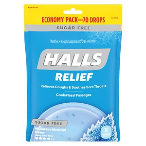 Halls Sugar Free Menthol Cough Suppressant/Oral Anesthetic Drops- 70 ea