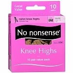 No Nonsense Comfort Top Sheer Toe Knee Highs, Size 1, Nude- 10 pr