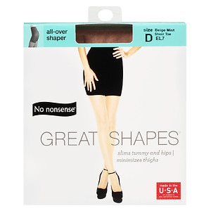 No Nonsense Great Shapes All-Over Shaper Sheer Toe Body Shaping Pantyhose, Size D, Beige Mist- 1 pr