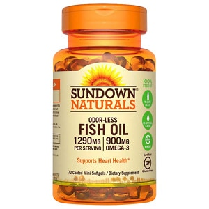 Sundown Naturals Odorless Omega-3 Fish Oil 1,290 mg Dietary Supplement Mini Softgels, 60 Each
