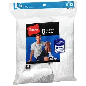 Hanes Men's Crew Cushion Socks Shoe Size 6-12