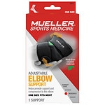 Mueller Sport Care Adjustable Elbow Support, Black, One Size- 1 ea