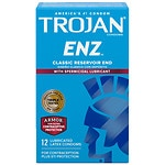 Trojan Enz Spermicidal Lubricated Premium Latex Condoms- 12 Each