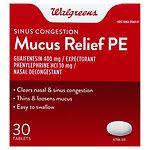 Walgreens Mucus Relief PE Sinus Congestion Tablets- 30 ea
